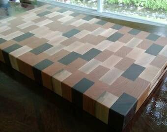 Cutting Board Walnut Cherry Maple Butcher Block  18x12x1.5 Wedding Gift Personalized Cutting Board