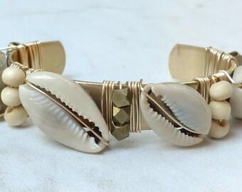Cowrie Shell, Diamond cut Brass beads, small Ivory Bone beads - Vintage Brass Cuff - Charm Candy Studio
