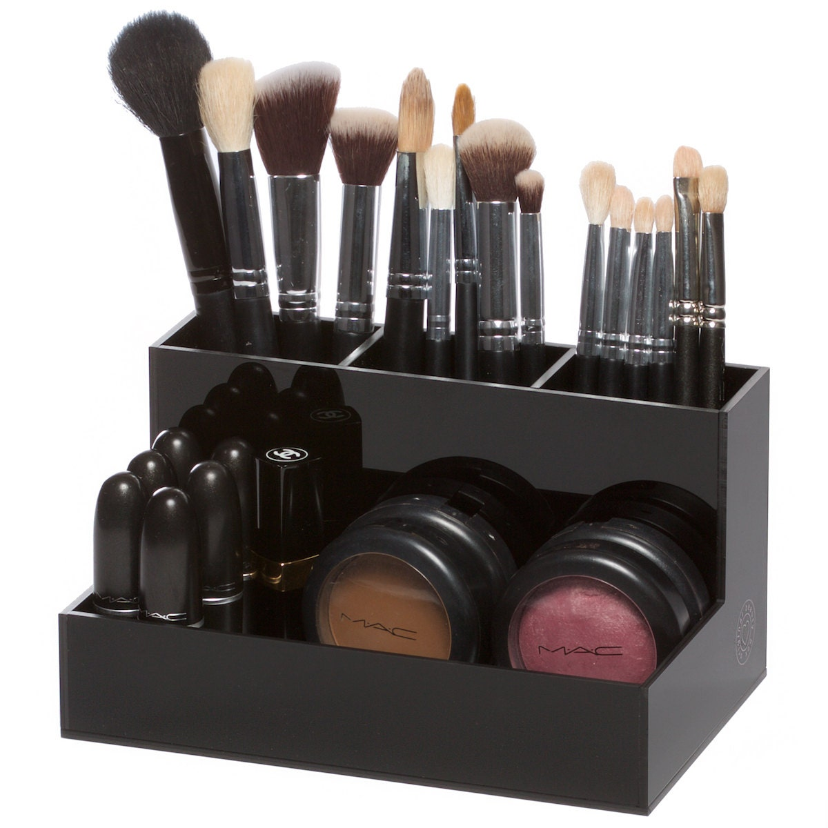 black acrylic brush holder makeup organizer. Black Bedroom Furniture Sets. Home Design Ideas