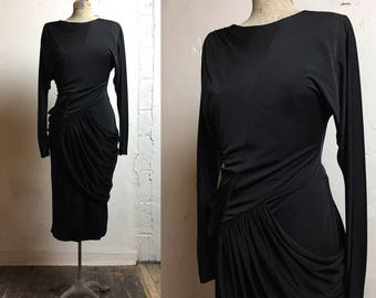 Vintage Little Black Dress   small medium   S M   Drapped Dress   Vintage Black Dress   Vintage Wiggle Dress