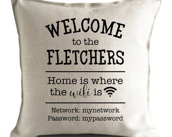 Personalised WIFI Password Cushion Cover, Internet Password Pillow Cover, House Warming Party gift, Vintage Style, Home Decor 40cm 16 inch