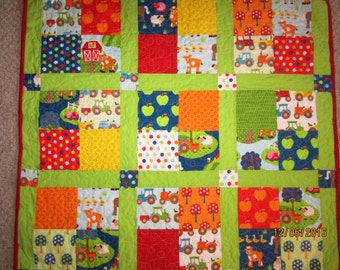 Childs  Farm Theme Handmade QUILT  35 inches X 34 inches  bright yellow backing and red border with lime stripping between blocks