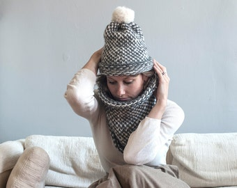 pom pom knit hat and cowl, hand knit set, infinity scarf, chunky knits, chunky knit hat, soft wool, women knit hat, men beanie, kid knit hat