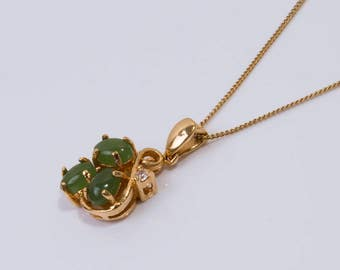 Vintage Silver Gilt Jade Pendant Necklace
