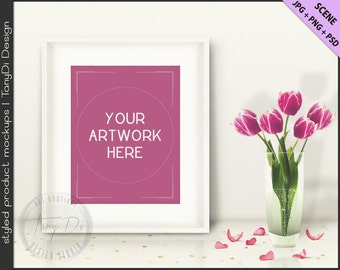 Styled White Table with Pink Tulips & Gold Confetti | 8x10 White Portrait Frame Mockup | Styled Stock Photography | JPG PNG Smart object