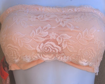 Bandeau Pink Lace Bra Removable Straps, Bra,  8 Loop options and Removjal Pads, Size Small 32/34