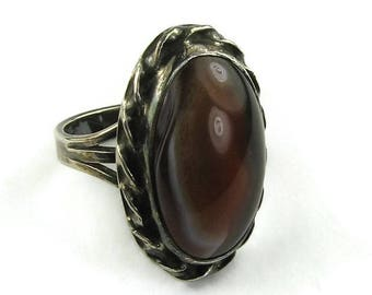Vintage Sterling Agate Ring