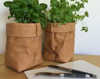 Washable Kraft Paper Storage Bag - Kraft Brown SMALL