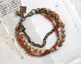 Crazy lace agate bracelet Red jasper bracelet Chain bracelet with stones Cowgirl bracelet Red bracelet Boho stone bracelet Rustic jewelry