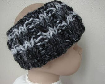 Chunky knit ear warmer black gray kids head warmer size 2 - 5 yrs warm hand knit in round no seams multicolor thick yarn toddler boy girl