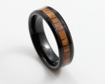 Thin Black Tungsten Ring With Koa Wood Inlay 6mm Wedding Band Comfort Fit