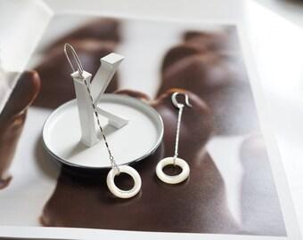 Statement earrings, Long earrings for women, Dangling earrings, Silver earrings, Pearl earrings, Drop earrings, Boho earrings, gift for her