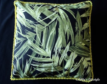 Palm leaves cushion cover. Handmade.