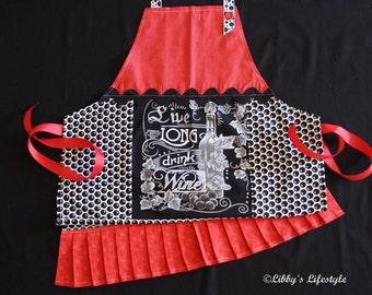 Wine Lover's apron. Handmade.