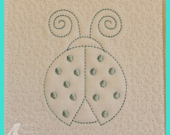 Trapunto Ladybird Quilt Block Machine Embroidery Design Pattern 5x5 by Titania Creations Instant Download.