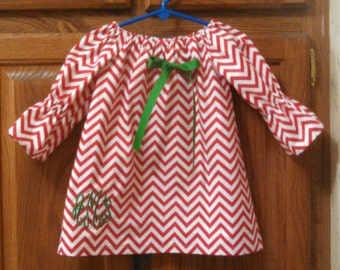 Monogrammed Peasant Dress for Baby/Toddler/Girl, Fall Dress, Winter Dress, Christmas Dress