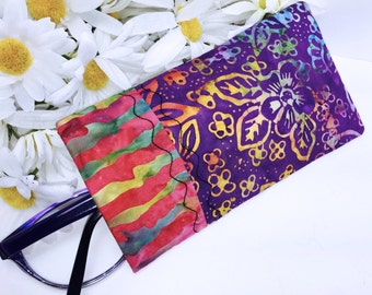 Batik Glasses Case, Sunglasses Case, Eyeglass Case, Glasses Pouch, Sunglass Slip Style Pouch