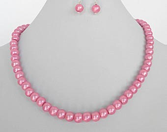 Hot pink pearl necklace, pink wedding jewelry, fusia pink necklace for her,  pink bridesmaid jewelry for women, pink necklace gift set