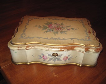 large vintage wooden chippy painted jewelry box vanity box