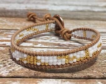 Single Wrap Bracelet / Gold and White Bracelet / Silver Beaded Bracelet / Chan Luu Style Wrap