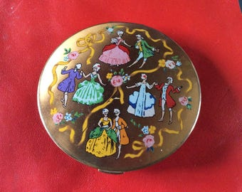 1950s British powder compact by FLAMINGO . Rare find
