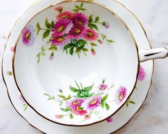 Hammersley Longton Stoke On Trent Pink Daisies Tea Cup and Saucer