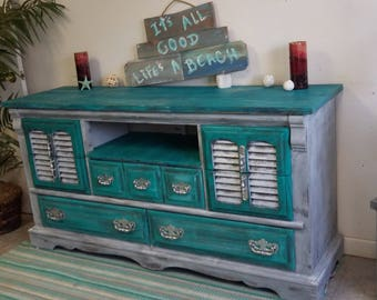 Sold - Shabby Coastal Chic TV Stand / Dresser Console
