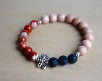 BEE STABLE // Red Jasper Bracelet / Bee Bracelet / Save the Bees / Essential Oil Diffuser Bracelet / Yoga Bracelet / Meditation Bracelet