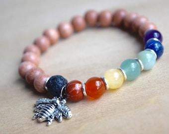 BEE HEALTHY // Chakra Bracelet / Chakra Healing / Save the Bees / Yoga Bracelet / Birthday Gift Idea / Genuine Gemstone Bracelet