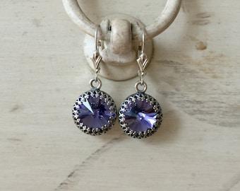 Tanzanite Crystal Sterling Silver Earrings