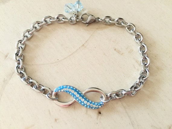 Swarovski Pave Aquamarine & Light Azore Infinity Bracelet