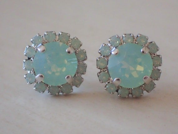Swarovski Chrysolite Opal Crystal Halo Post Earrings, Silver