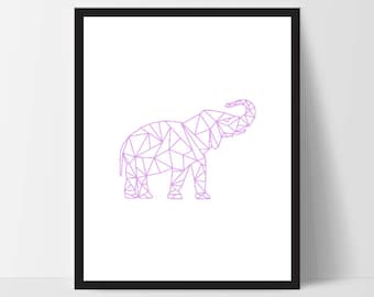 Purple Pink Geometric Elephant, Wall Art, Thai Wall Print, Boho Art, Wall Prints, Elephant Prints, Art, Elephant