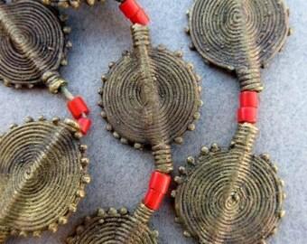 Baule Brass Beads, Brass Metal Beads, Beads from Ghana Africa, Sunburst (21x28mm) [66103]