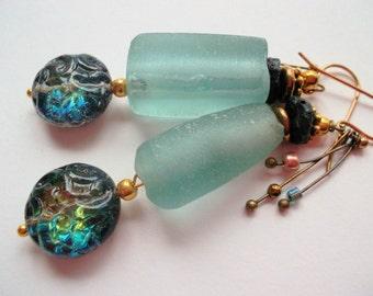 Recycled green glasspearls africa seaglass rustic earrings tribal earrings OOAK niobium earhooks long ceramicdrops bone china