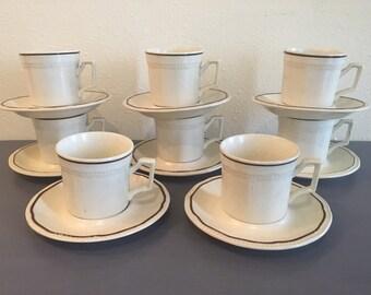 Darling vintage set of 8 Kensington Ironstone brown and cream Art Deco style mugs & saucers circa 1960s Staffordshire England!