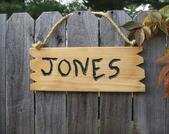 "Rustic hand carved cedar wood name sign"" Jones""home and living home decor custom sign personalized sign"