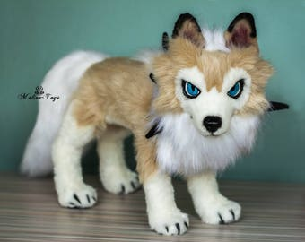 CUSTOM ORDER!Poseable Lycanroc midday form pokemon.