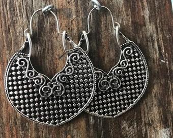Boho Gypsy Silver Earrings