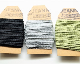 Kit 3 coupons cotton strings baker's twine, black, grey, pale green, 3 x 10 m