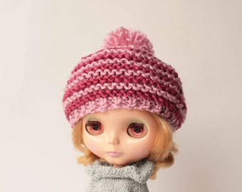Pink Blythe doll outfit, Blythe hat, Pink beret with pom pom for Blythe doll, Cozy beanie for blythe doll, Hand knitted cap for doll, Rose