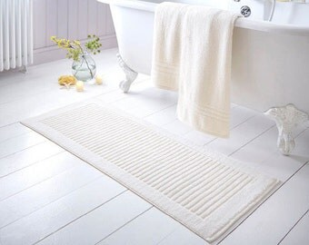 Chic extra long bath mat in thick 100% cotton - Cream
