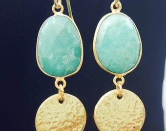 Green Earrings, Long Earrings, Gold Colour Brass, Hammered, Dangle