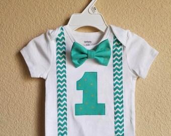 Boy turquoise chevron suspender shirt, Boy teal chevron suspender shirt , 1st birthday shirt, boy birthday outfit, custom birthday shirt,