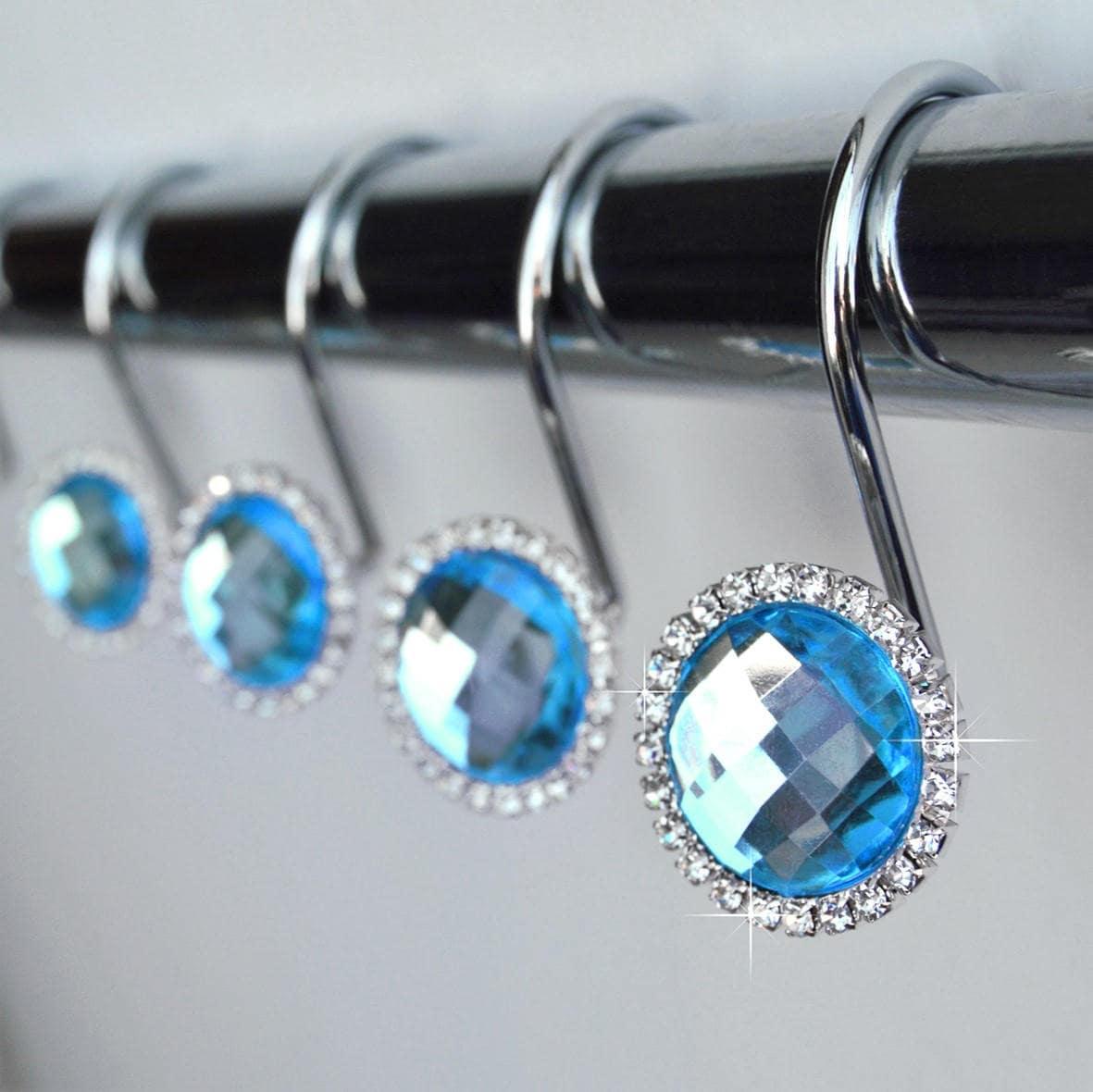 Rhinestone shower curtain hooks - Shower Curtain Hooks Rings Turquoise Blue Crystal Diamond Rhinestone Bathroom Set Romantic Decor