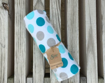 Polka Dots Flannel Receiving Blanket