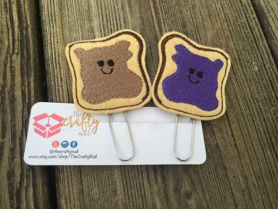 Peanut butter & Jelly Clip/Planner Clip/Bookmark. BFF planner clip. Besy friends planner clip