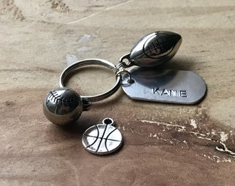 Custom sports keychain name keychain personalized sports gift coach keychain coach gift ideas monogram keychain sports charm keychain
