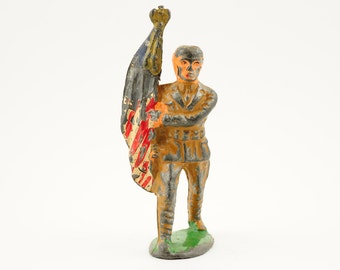 Vintage, antique, barclay, lead soldier, american flag,toy soldier, 1930s