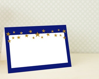 Twinkle Twinkle Little Star Party Decorations , Tent Cards , Blue and Gold Table Tent , Twinkle Twinkle Little Star Buffet Label , Printable